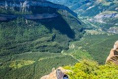 峡谷在Ordesa国家公园,比利牛斯,韦斯卡省,阿拉贡,西班牙 免版税库存图片