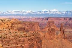 峡谷地国家公园中南部的犹他位于以拉萨勒山为目的 库存图片