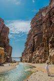 峡谷旱谷mujib约旦 免版税库存图片