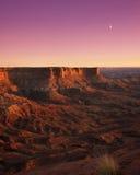 峡谷月亮上升 库存照片