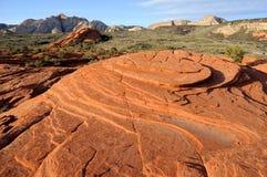 峡谷沙丘石化沙子雪犹他 库存照片
