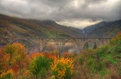 峡谷河塔拉和Ä  urÄ ` eviÄ ‡塔拉桥梁,黑山-秋天图片 免版税库存图片