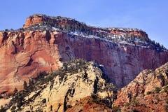 峡谷红色岩石雪犹他zion 图库摄影
