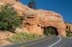峡谷红色路绕 免版税库存图片
