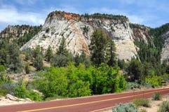 峡谷锡安的绿色,红色,蓝色和黄色颜色 arizonian 库存照片