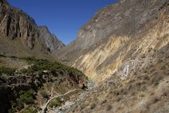 峡谷colca秘鲁河 库存照片