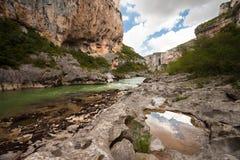 峡谷lumbier navarre河 免版税图库摄影