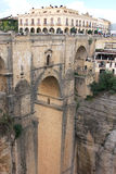 峡谷nuevo puente朗达西班牙范围 库存图片