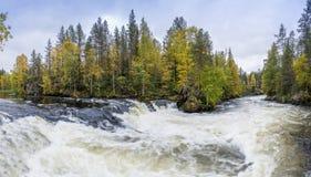 峭壁、石墙、森林、瀑布和狂放的河全景在秋天 秋天颜色- ruska时间在Myllykoski 库存图片