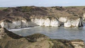 峭壁和海滩在Flamborough头,约克夏,英国 免版税库存照片