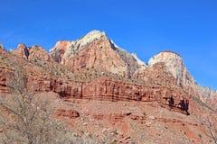 峭壁在锡安国家公园,犹他 库存图片