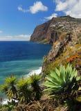 峭壁在马德拉岛02的南部的海岸的Cabo Girao 免版税库存图片