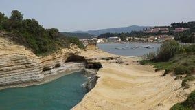 峭壁在Sidari,科孚岛,希腊 图库摄影
