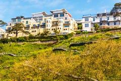 峭壁小山的议院,在绿色植物中的一个岩石,兴趣 库存照片