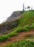 峭壁灯塔顶层 图库摄影