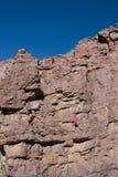 峭壁登山人半路  图库摄影