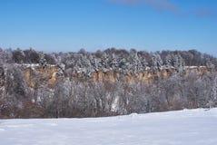 峭壁的全景 在前景一个多雪的森林,在背景-蓝天中 Lago-Naki,主要白种人里奇, 库存图片