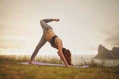 峭壁的妇女在瑜伽位置 库存图片