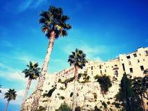 峭壁的海滨城镇特罗佩亚意大利 图库摄影
