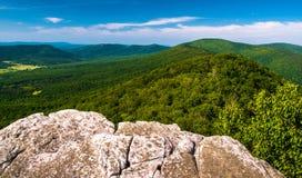 从峭壁的看法在大Schloss,在乔治华盛顿国家森林里 库存照片