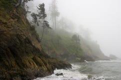 峭壁雾喜怒无常的和平的岩石海岸线 库存照片