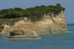峭壁面孔在科孚岛 库存图片
