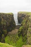峭壁eshaness舍德兰群岛 库存照片