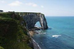 峭壁Etretat, Normandie Aval  免版税库存图片