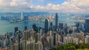 峰值时间流逝的香港都市风景高观点 股票视频