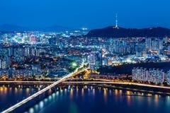 从峰顶的汉城地平线 免版税库存图片