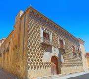 峰顶的Casa de los Picos House在中世纪街道上的在Se 库存照片