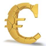 崩溃的欧元 库存照片