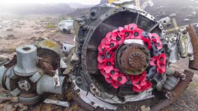 `崩溃的站点在被暴露的`的在德贝郡,英国 库存照片