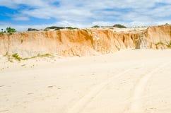 崩溃Canoa quebrada在ceara状态的海滩商标 免版税图库摄影