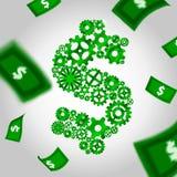 嵌齿轮和落的货币 免版税图库摄影