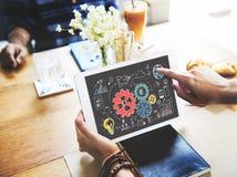 嵌齿轮图表商务系统分析概念 免版税库存照片