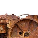 嵌齿轮引擎查出的生锈 免版税库存照片