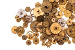 嵌齿轮链轮在白色背景的steampunk元素 葡萄酒钟表机构分开特写镜头 抽象形状对象与 库存图片