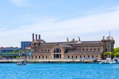 州机关的大厦税收管理在巴塞罗那海港  免版税库存图片