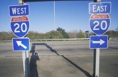州际公路20东西方入口在东南美国 免版税库存图片