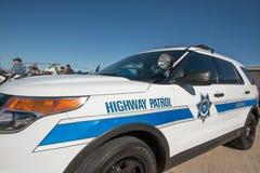 州际高速公路警察巡逻车 库存图片