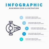 巡洋舰,战斗机,拦截机,船,航天器线象有5步介绍infographics背景 皇族释放例证