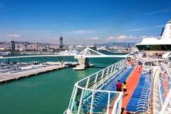 巡航口岸在巴塞罗那,西班牙 免版税库存图片