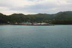 巡航口岸 praslin塞舌尔群岛 免版税库存图片
