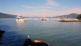 巡航小船输入的小游艇船坞 免版税库存图片