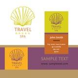 巡航旅行和温泉设计商标  手拉的剪影日志 免版税库存照片