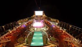 巡航甲板晚上船 库存照片