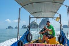 巡航的Phang Nga海湾在泰国 库存照片