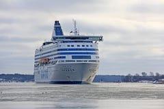 巡航轮渡Silja交响乐在冬天 图库摄影