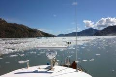 巡航通过冰川在美丽的威廉王子湾 免版税库存图片